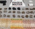 Detido suspeito de tráfico com drogas, dinheiro e réplica de pistola no Recanto da Lagoa