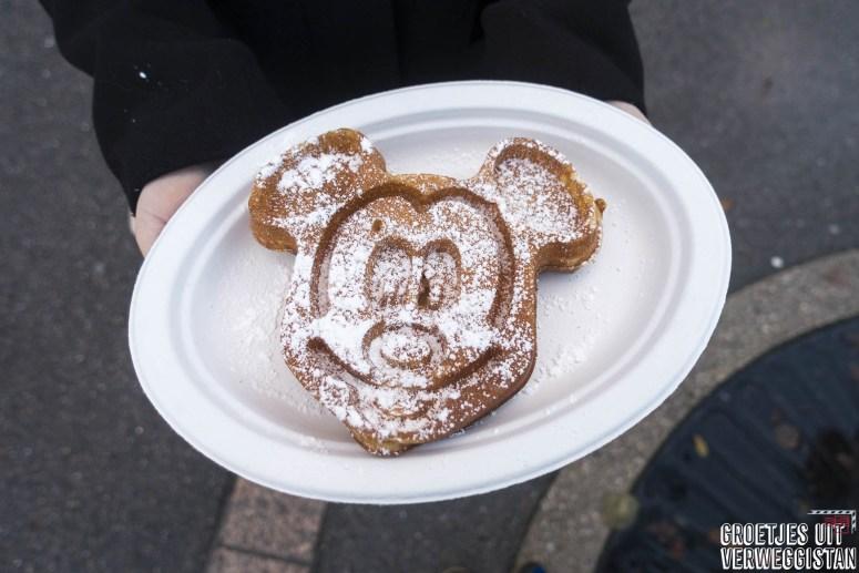 Een Mickeywafel in Walt Disney Studios tijdens Kerst in Disneyland Parijs