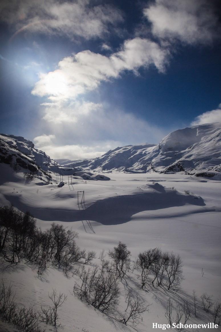 Uitzicht over een besneeuwd landschap vanuit de trein tussen Oslo en Bergen.