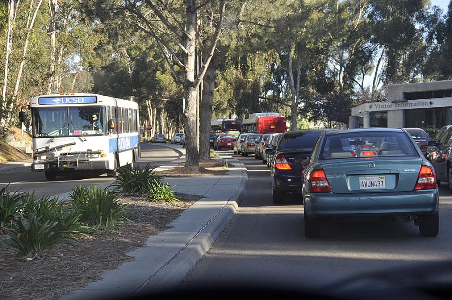 Traffic backed up at the Gilman Drive entrance