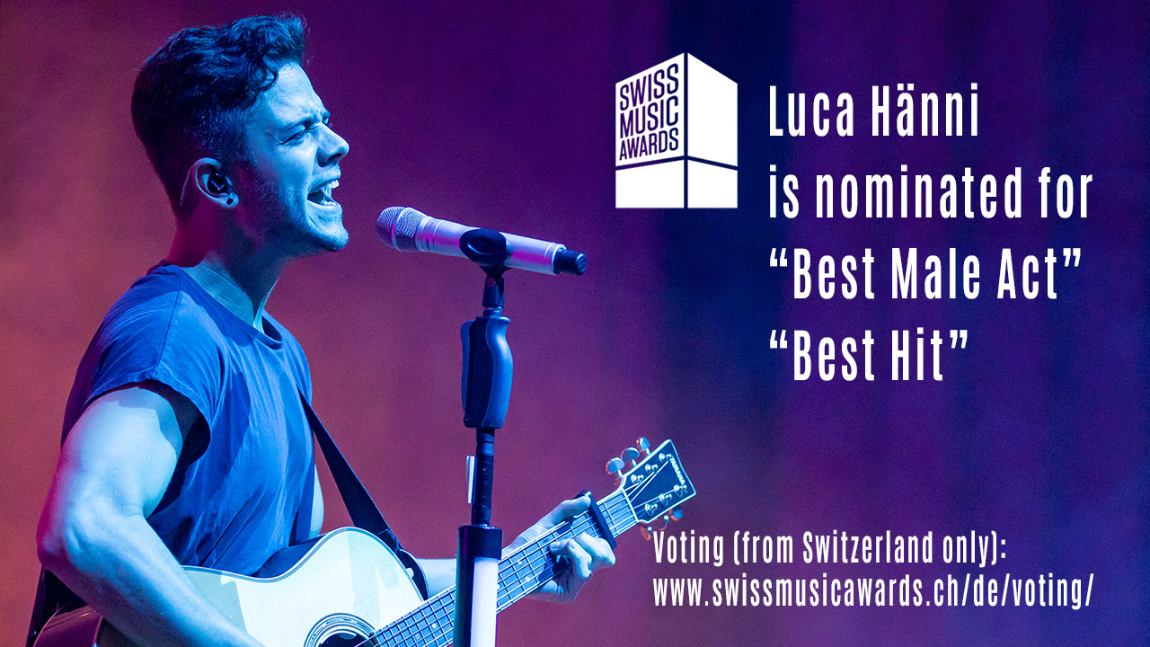 Luca Hänni is nominated for Swiss Music Award