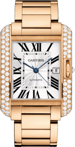 best mens luxury watch - Cartier 18k Rose Gold & Diamond Tank Anglaise Extra-Large Model