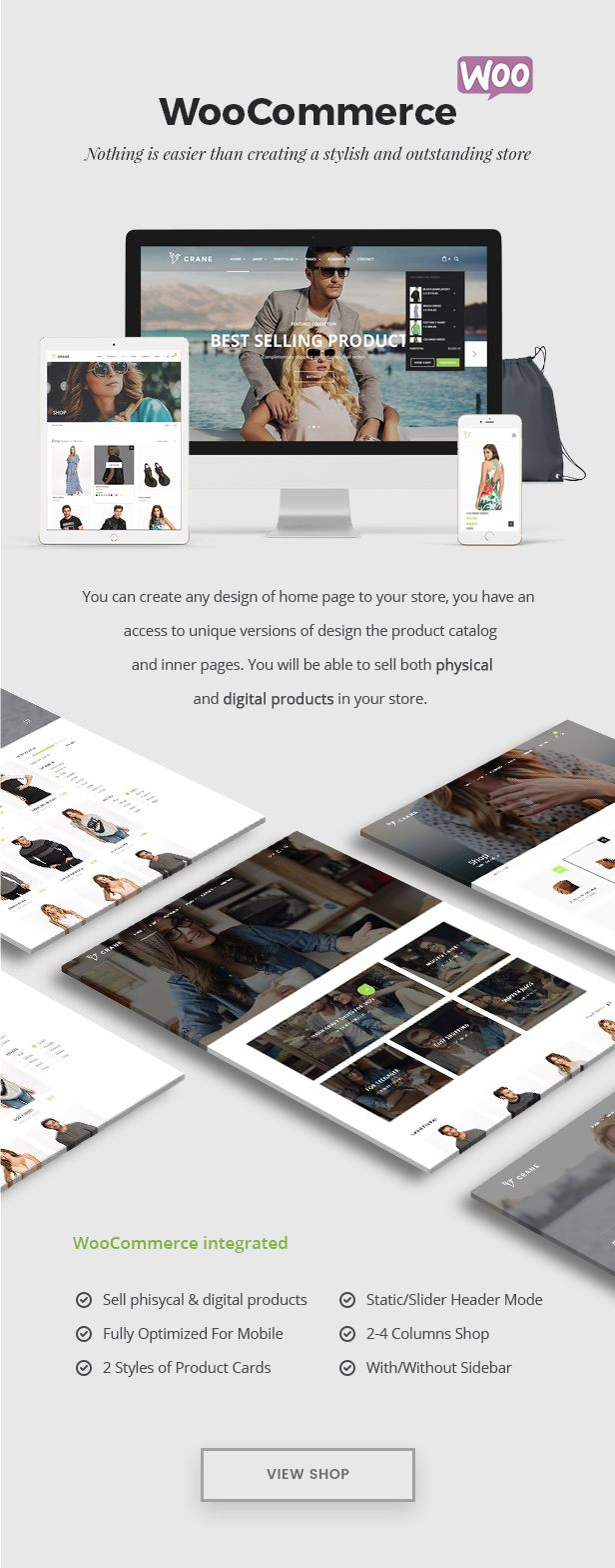 Create stylish and trendy store on WooCommerce or Gumroad with Crane