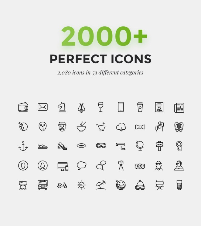 2000 Amazing Icons for 53 Categories