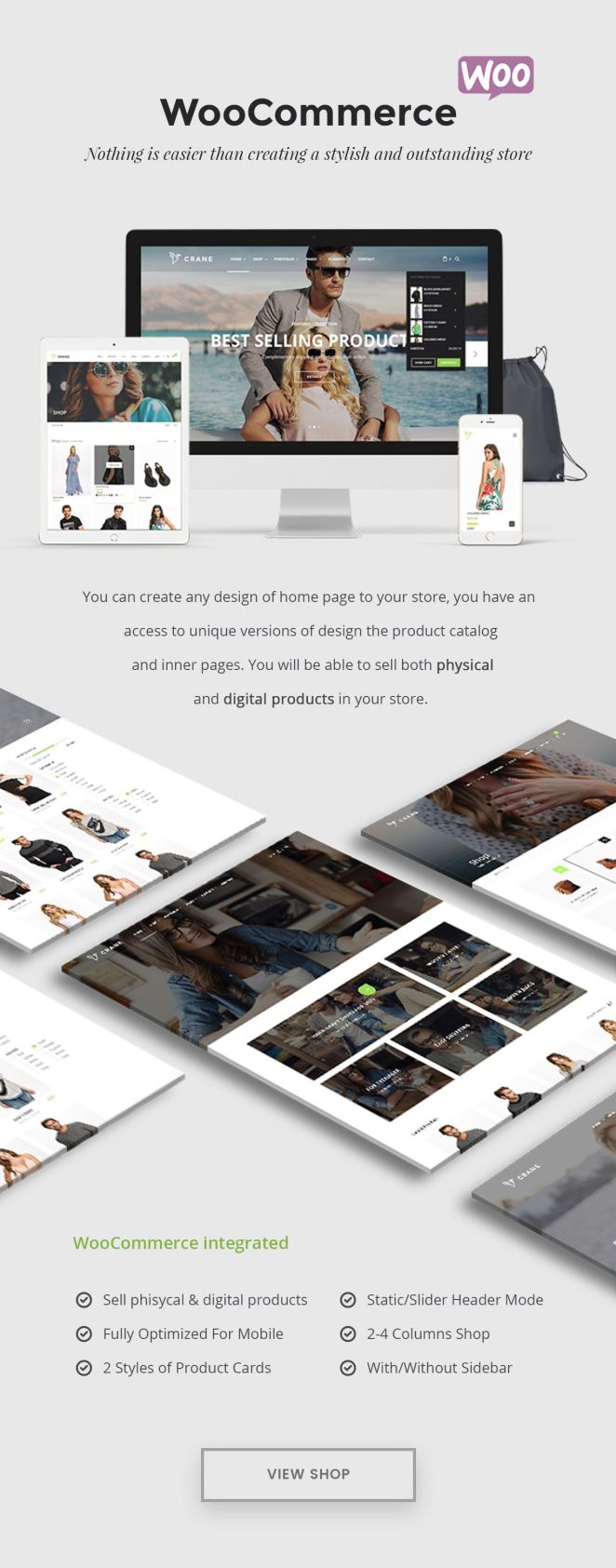 Create stylish and trendy store on WooCommerce or Gumroad with Best Crane WordPress Theme