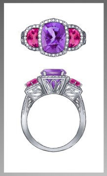 Amethyst and Pink Tourmaline ring