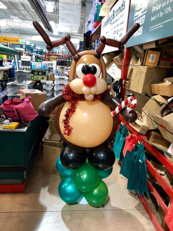 Jumbo Reindeer Balloon sculpture in Bunnings store