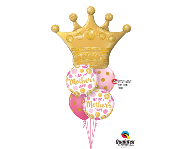 Queen crown with foil and latex balloons