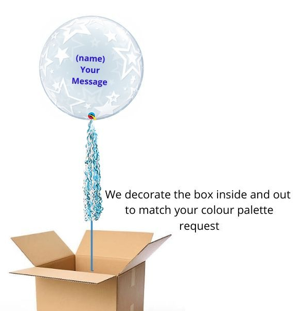 Deco Bubble blue and white pop up gift delivery box