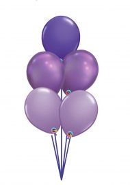 5 balloon bouquet in shades of purple with decorative ribbon and weight included