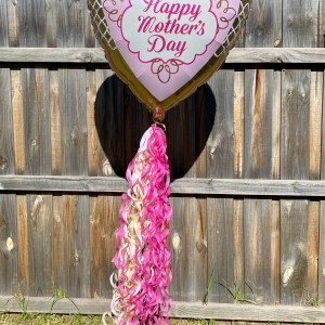 mothers day Printed balloon with many ribbons