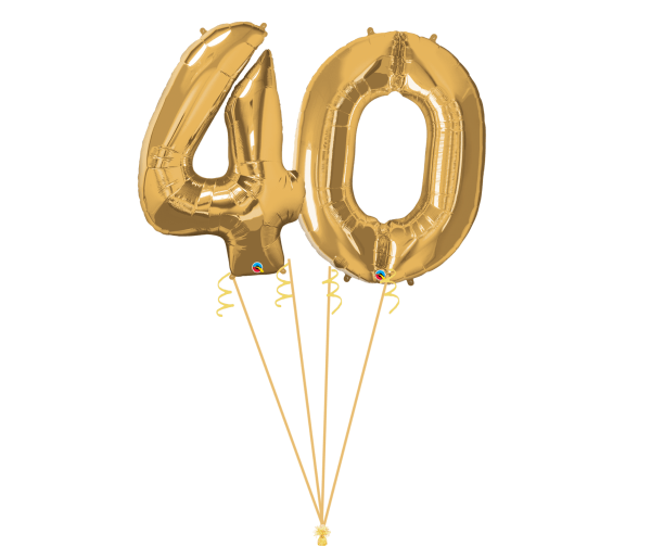 gold Megaloon helium number on ribbon