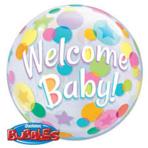 Large Clear balloon with welcome baby printed on it