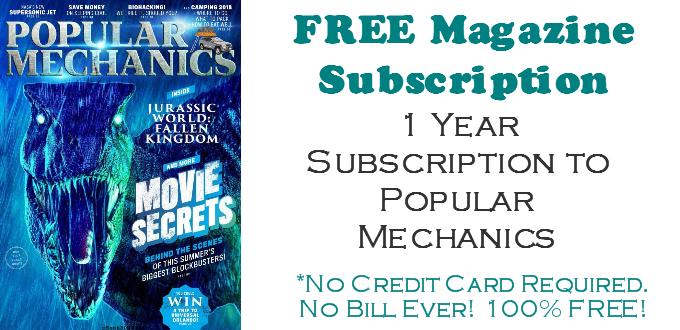Popular Mechanics Magazine FREE SUBSCRIPTION