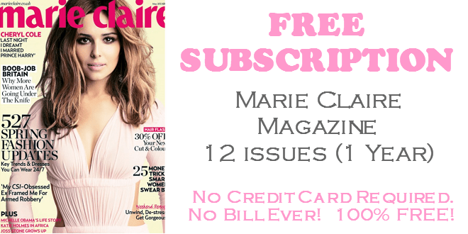 Marie Claire Magazine FREE Subscription