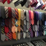 Showroom at The Tie Bar with a colorful selection of ties.