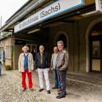 Von links: Gemeinderat Siegmund Vögtle, Bürgermeister a. D. Anton Knapp, Gemeinderat Reinhard Isak, aus der Partnerstadt Hüfingen (Baden-Württemberg) und Frank Peuker, Bürgermeister von Großschönau