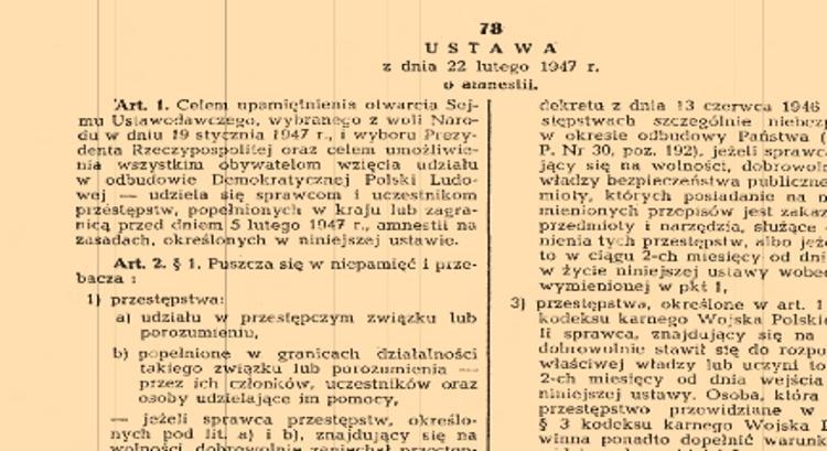Analiza ankiet osób ujawnionych w ramach wykonania Ustawy z dnia 22 lutego 1947 r. o amnestii