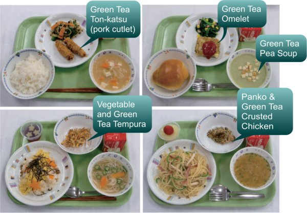 green tea lunches served at schools in Japan