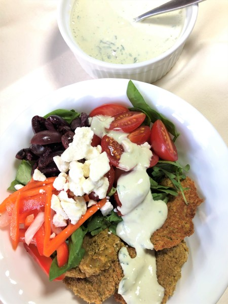 Falafel Bowl with Green Tea Tzatziki Sauce