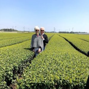 Bruce and Shelley Richardson in tea gardein in Kagoshima, Japan