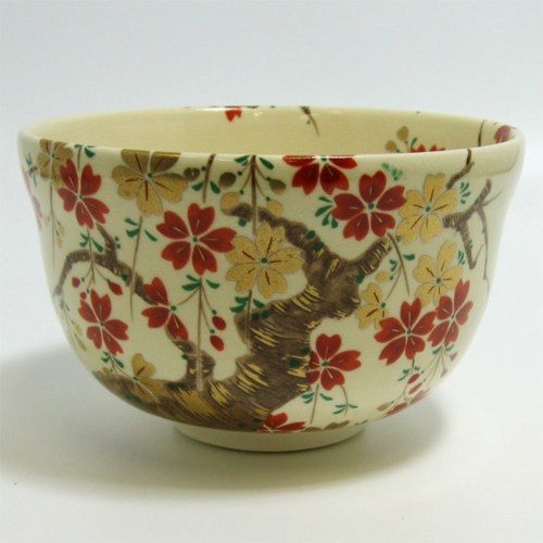 matcha tea bowl cherry blossoms