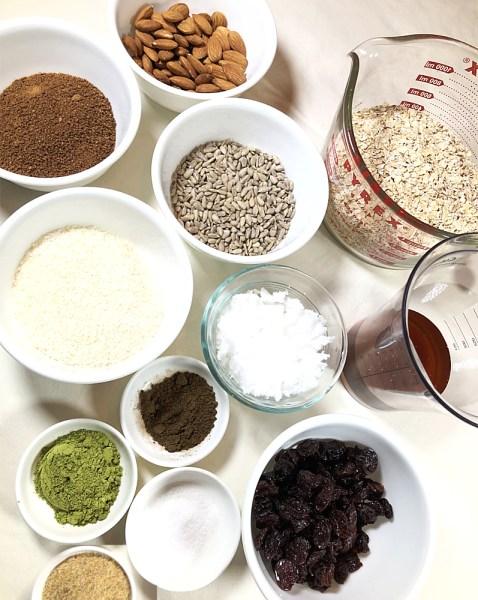 hojicha matcha granola bars ingredients