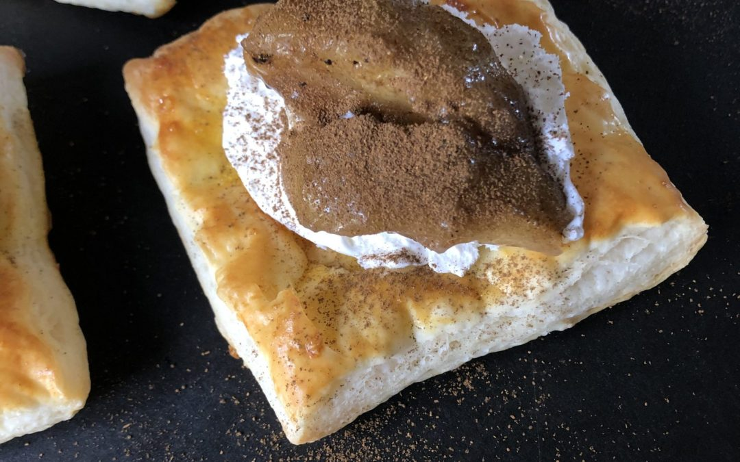 Hojicha Apple Puff Pastry Squres