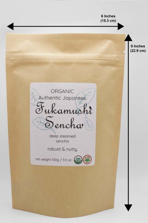 Fukamushi Sencha pouch dimensions
