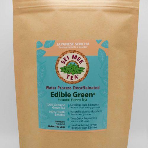 Decaffeinated Edible Green Sencha 180 cup Pouch front view
