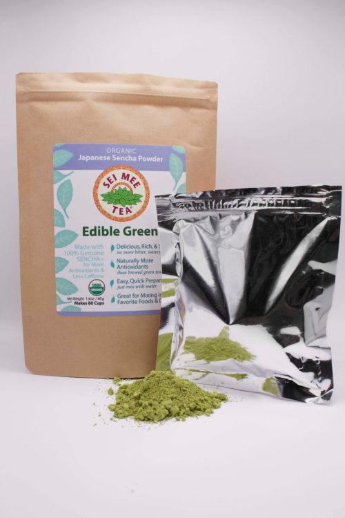 Edible Green Sencha 80c Pouch and contents