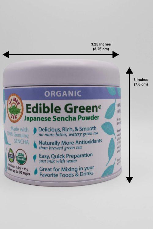 Edible Green Sencha gift tin dimensions