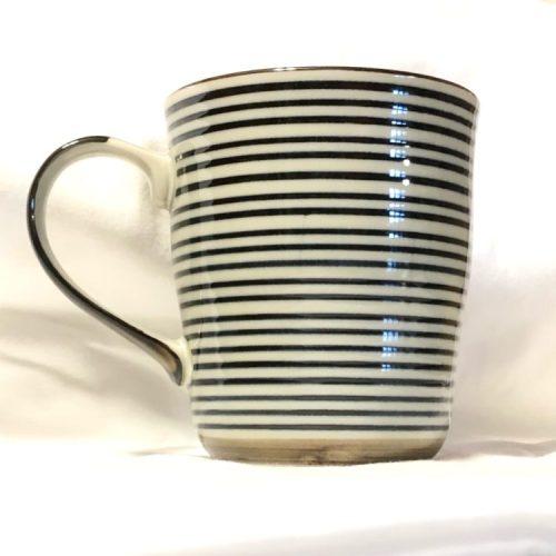 blue stripe mug cup front