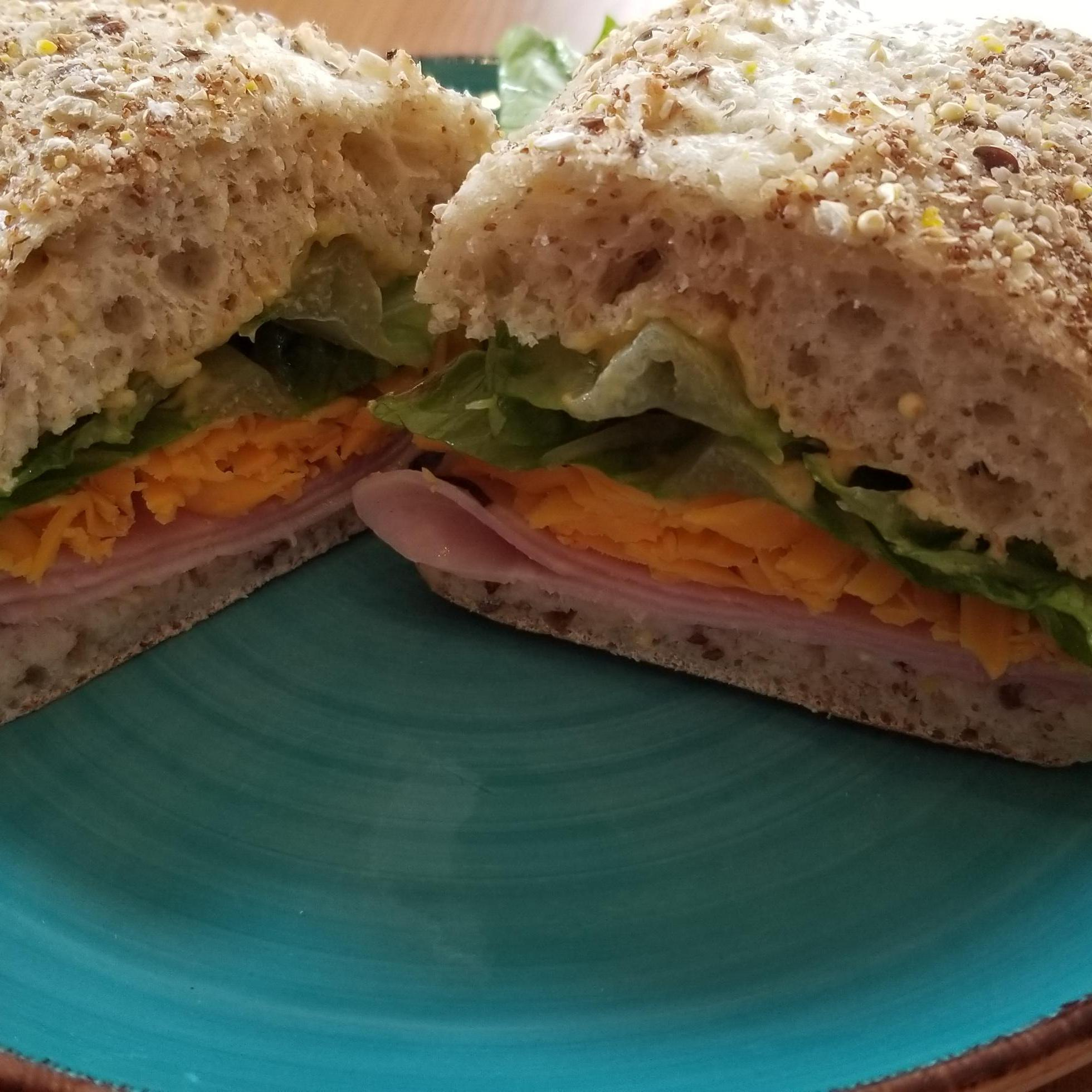 Our Ham and Cheese Sandwich available on White or Multigrain Ciabatta.