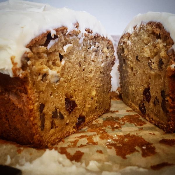 Fresh baked fall inspired desserts available this week including Cranberry Pecan Pumpkin Loaf with Cream Cheese Frosting.