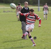 Action as Darlington (black and white) take on Novocastrians at Blackwell Meadows.