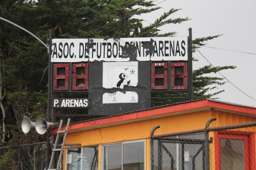 The rather battered scoreboard at the Stadio Ramon Canas, Punta Arenas, Chile.