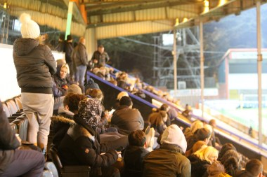 Fans at Spotland for Ryton's FA Youth Cup trip to Rochdale.