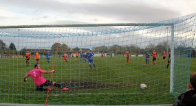 John Campbell sends the goalie the wrong way as Newton Aycliffe score their first penalty against Worksop Town.