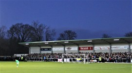 The Tin Shed during Darlington's 3-2 home win over Halifax at Blackwell Meadows.