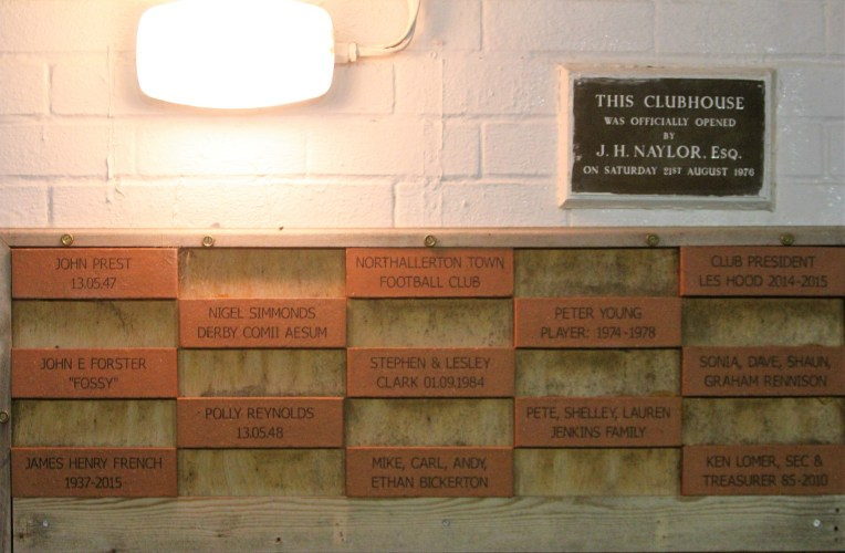 Bricks in the 1895 Wall of Fame at Northallerton Town.