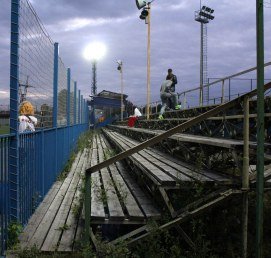 An abandoned stand at Reutov's Start Stadium.