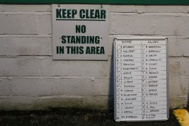 Team sheets on display at Central Avenue, Billingham Synthonia.