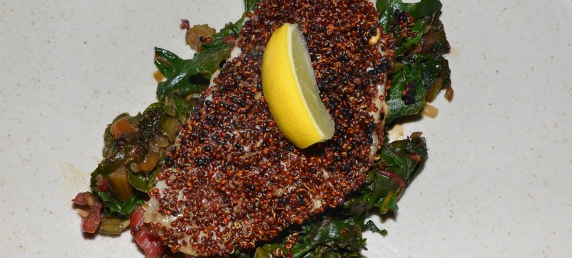 Quinoa Crusted Tilapia, Rainbow Chard, and the Stomach Flu
