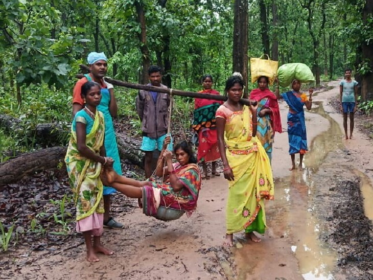 Chhattisgarh: An ambulance could not reach the village, 3KM footsteps carrying pregnant pregnant