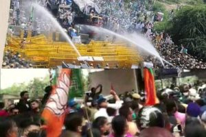 farmers protests in delhi ncr water cannon & tear-gas by haryana police, Kolkata Clash broke out between BJP workers & Police किसान आंदोलन