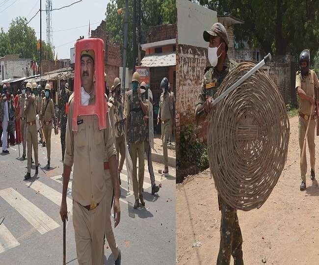गुस्साई भीड़ ने किया पथराव तो पुलिस ने डलिया और स्टूल से किया बचाव ; जांच के आदेश, कई पुलिस कर्मी ससपेंड !