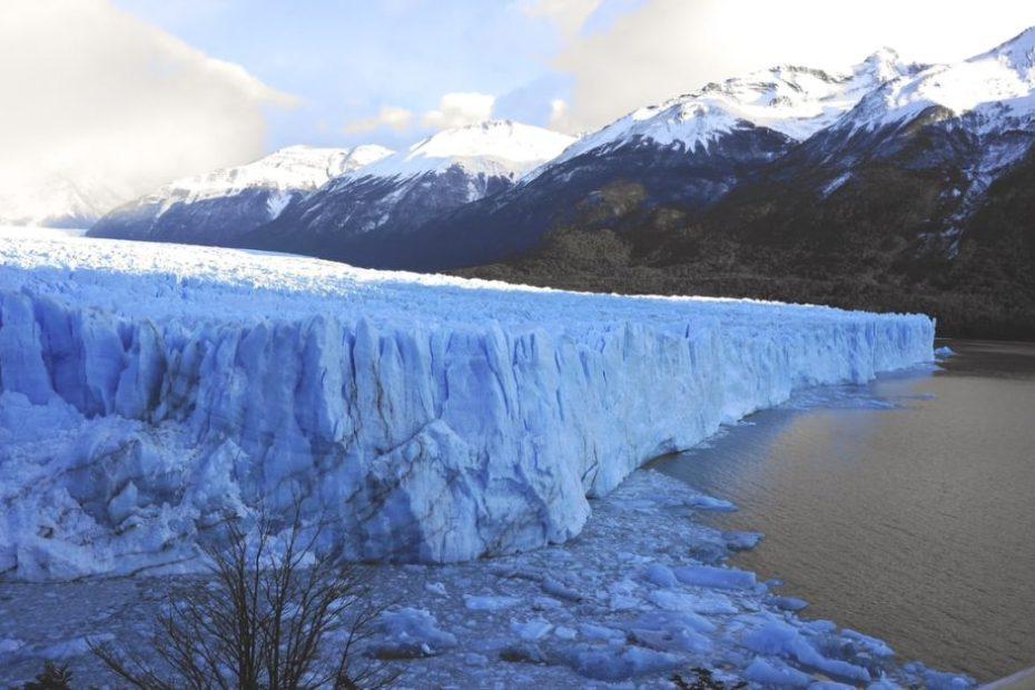 Glacier ice on mountain tops