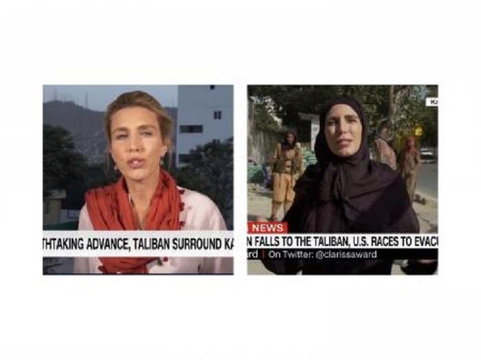 US female reporter wears hijab