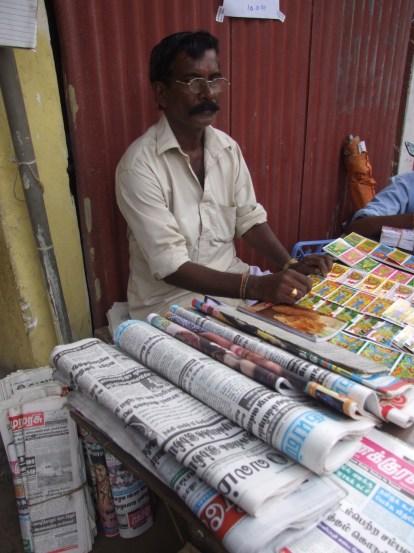 Saravanamuththu Kanagaraj sells newpapers in Jaffna